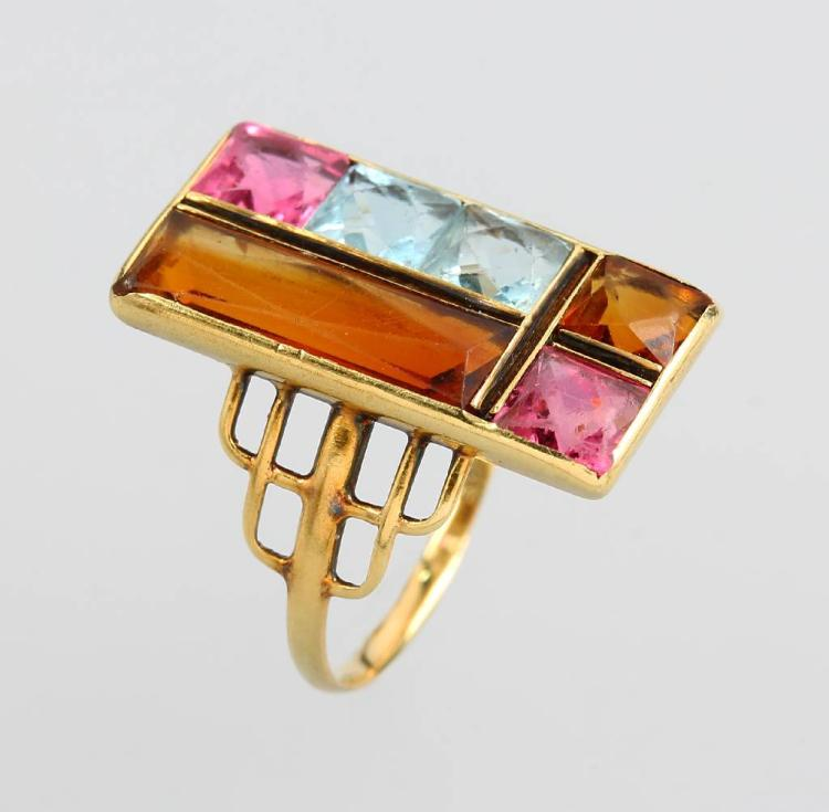 14 kt gold Art-Deco ring with coloured stones