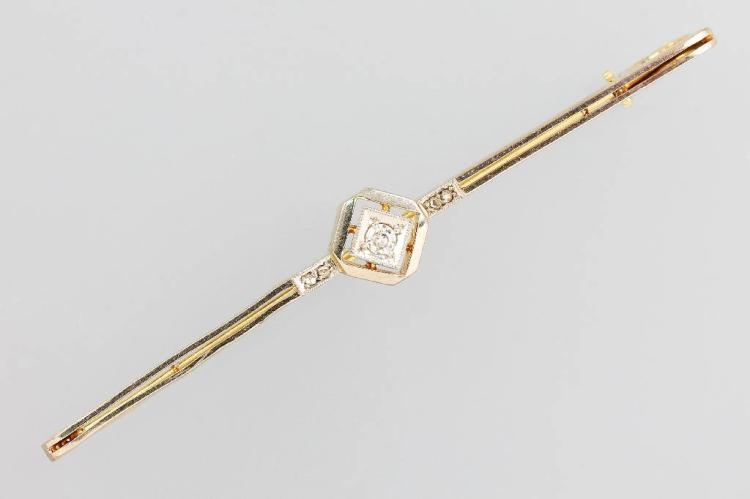 14 kt gold Art-Deco-bar brooch with diamonds