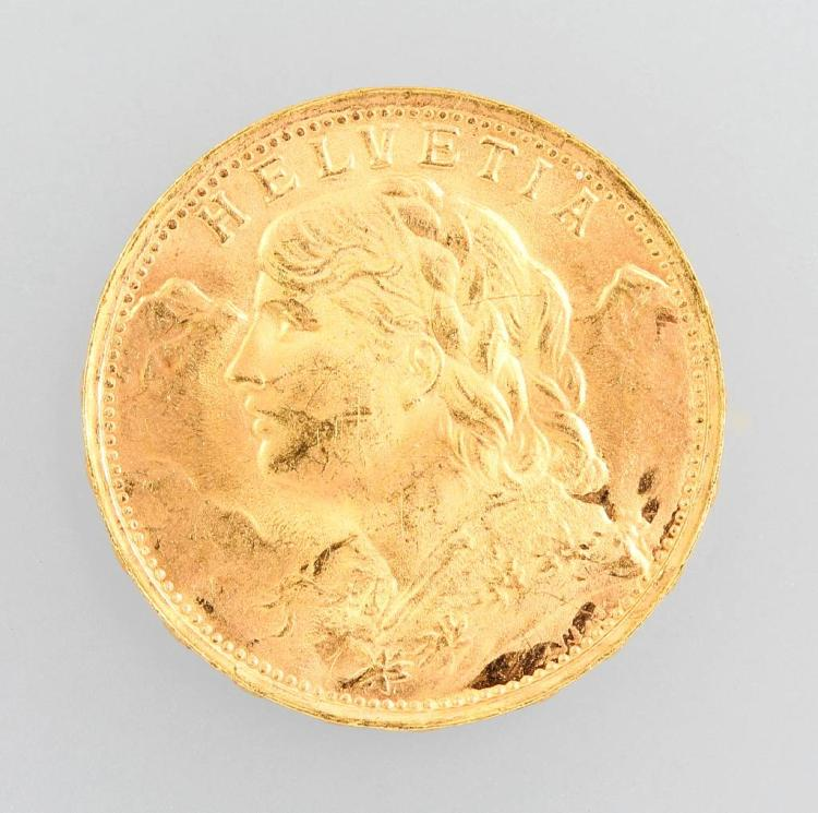 Gold coin, 20 Swiss Francs 1935