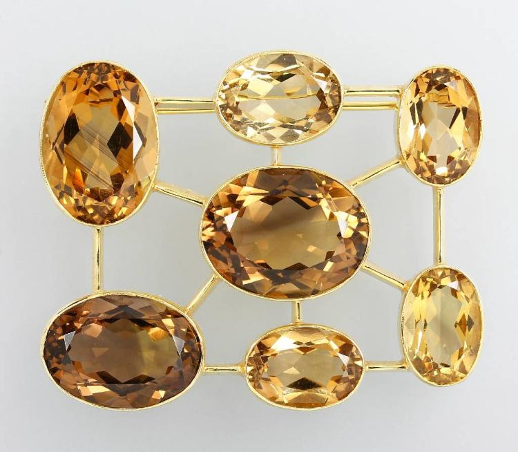 14 kt gold brooch with citrines