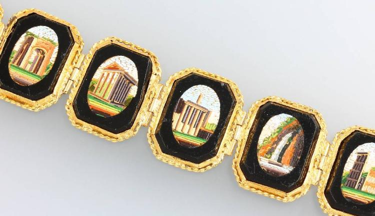 18 kt gold bracelet with micromosaic