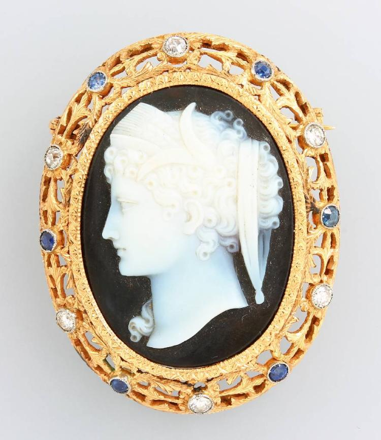 Brooch with agate cameo, setting YG 750/000, approx. 1880s