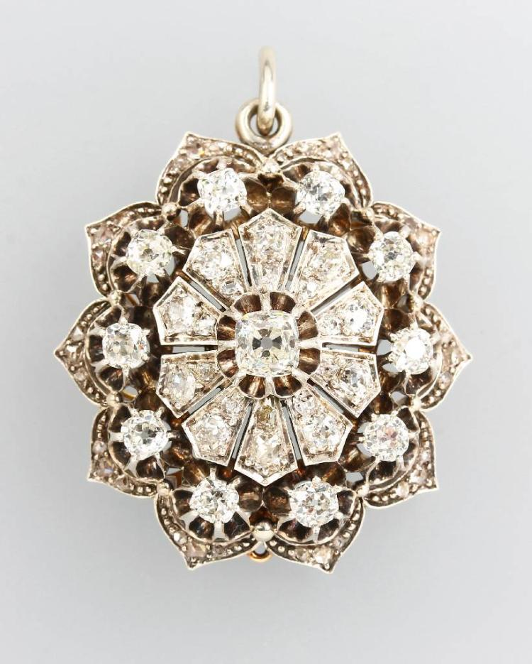 Pendant with diamonds, YG 585/000 and silver