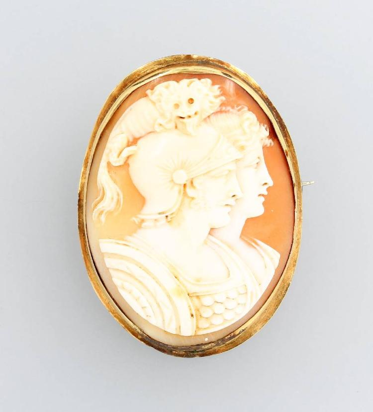 14 kt gold pendant/brooch with cameo, Italy approx. 1860