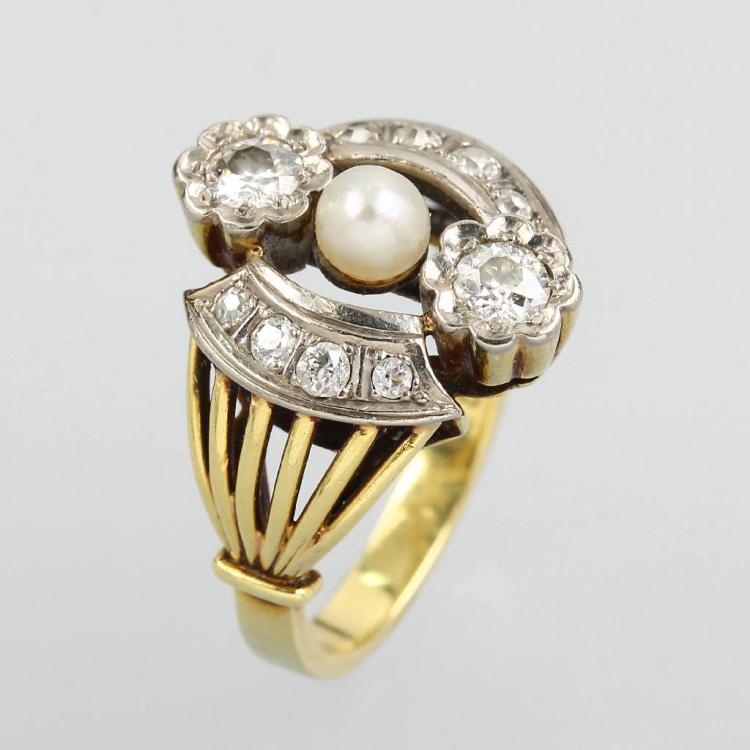 Ring with diamonds, Art-Deco, approx. 1930
