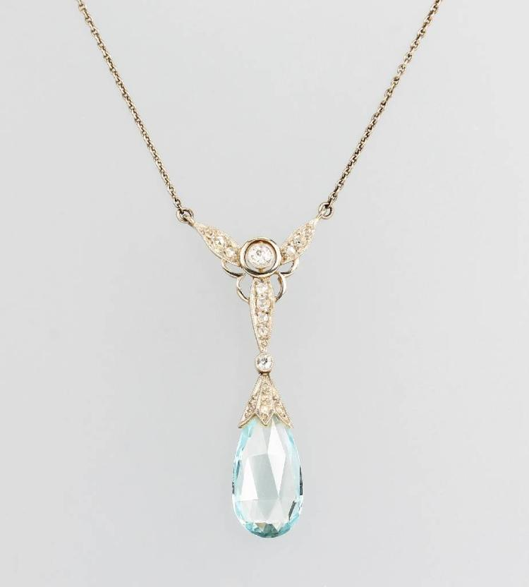 18 kt gold necklace with aquamarine and diamonds