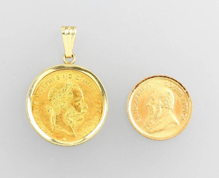 Lot 2 gold coins: 1 x 1/10 Krügerrand, springbok 1981