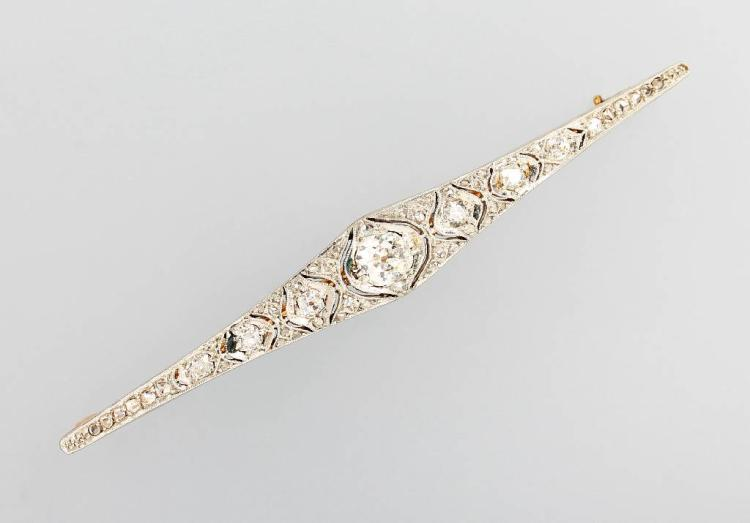 Art-Deco bar brooch with diamonds, YG 585/000 and platinum
