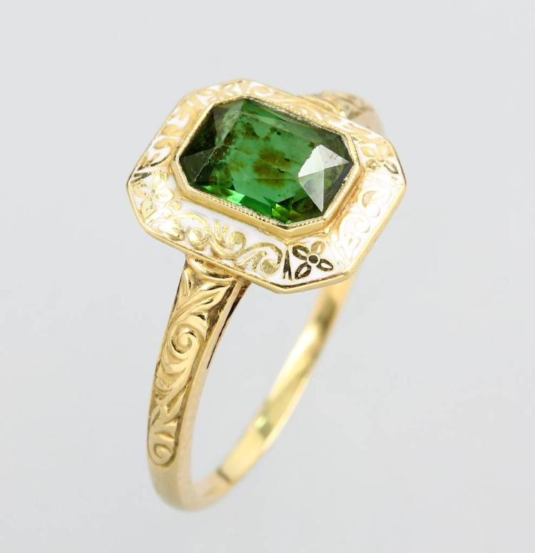 14 kt gold ring with tourmaline and enamel