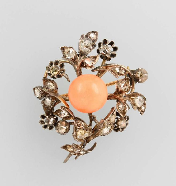 Brooch with coral and diamonds, german approx. 1850/60