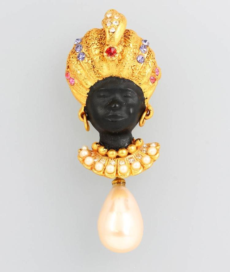 Costume jewelry brooch 'Blackamoor'