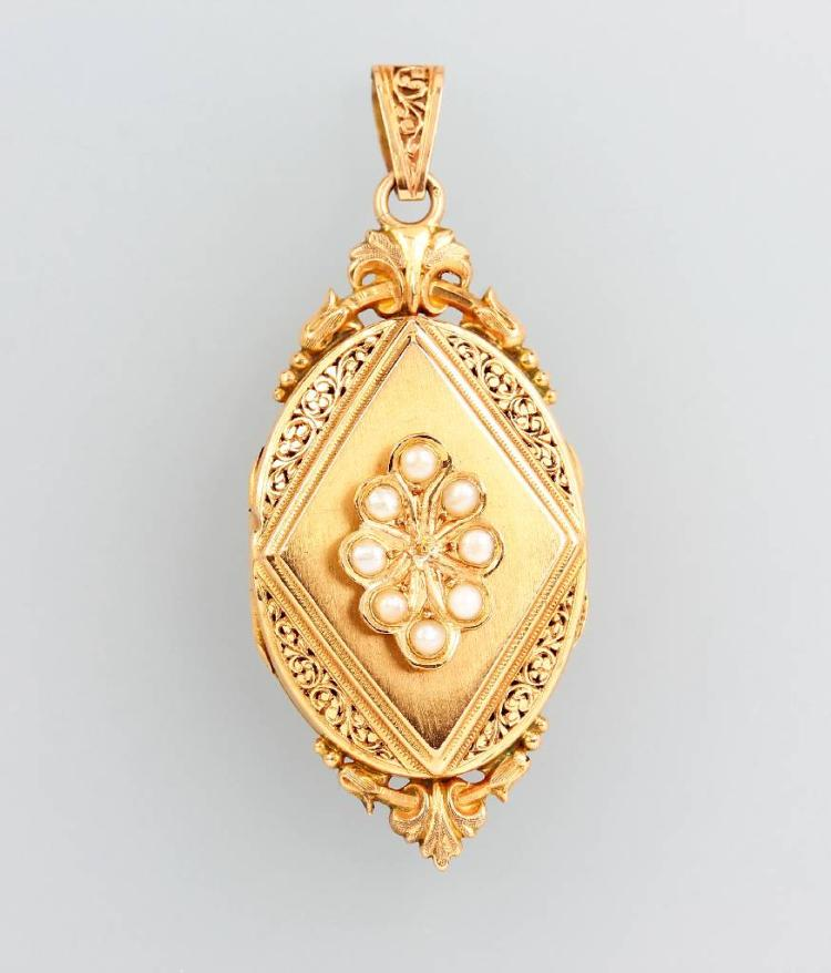 18 kt gold locketpendant, France approx. 1870/80