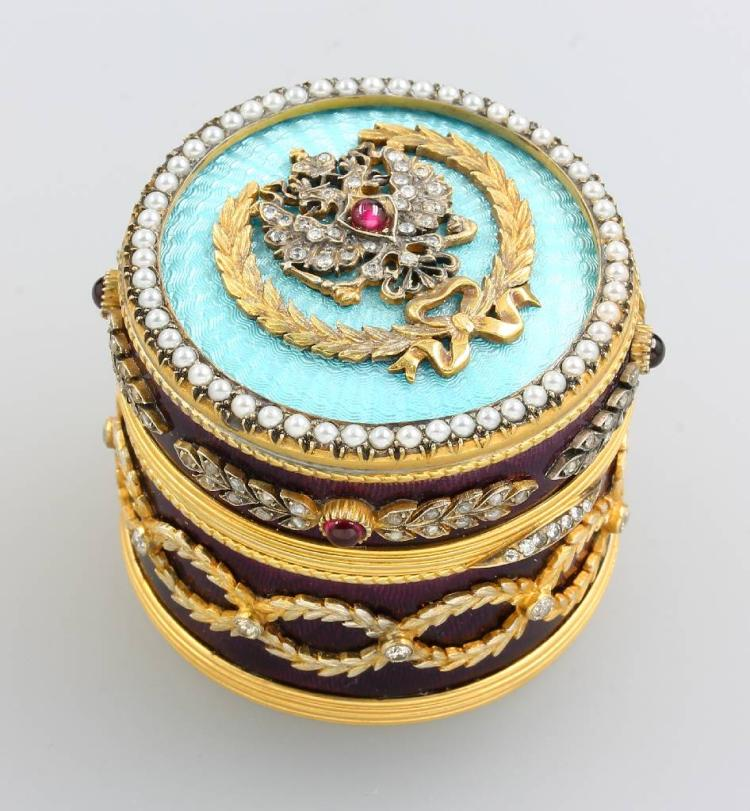 Bonbonniere with enamel and diamonds, approx. 1930/40