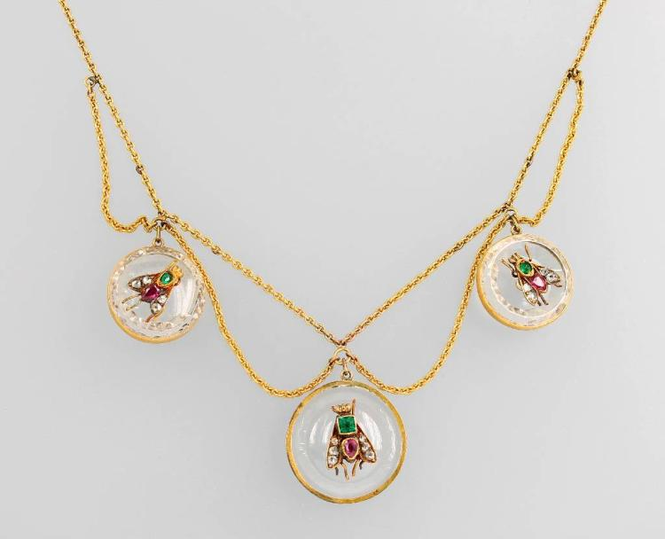 14 kt gold necklace with coloured stones