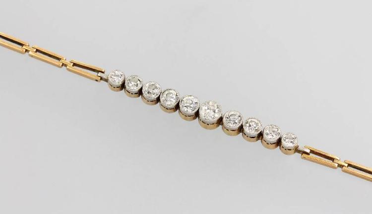 Bracelet with diamonds, YG 585/000 and platinum