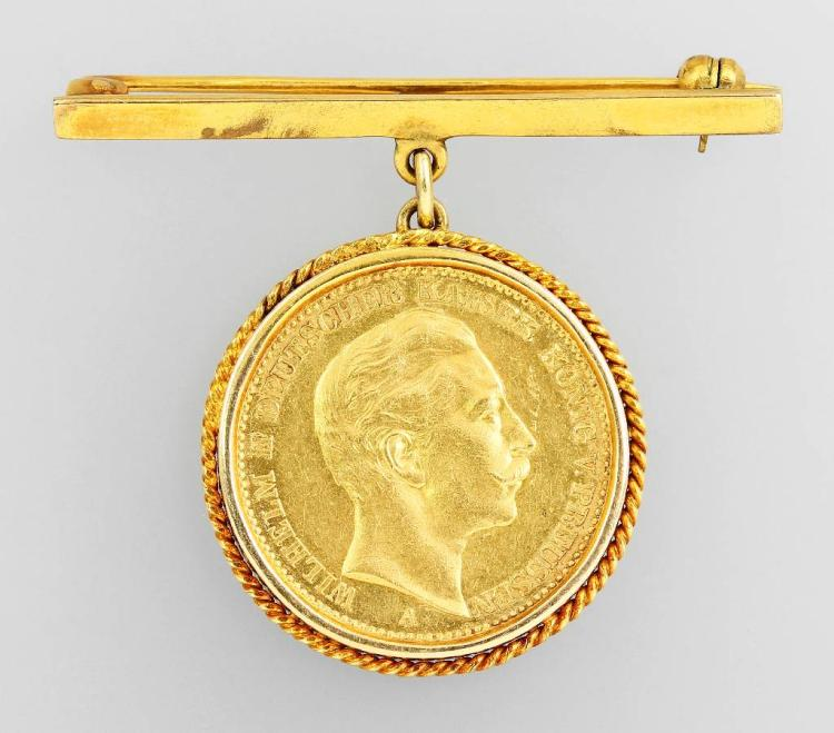 Pin with gold coin, 20 Mark 1908