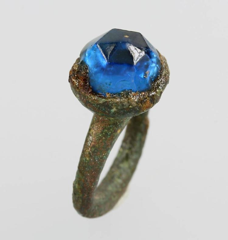 Romain ring made of bronze with blue stone