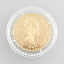 Gold coin, 50 Dollars, Cook Island, 1991