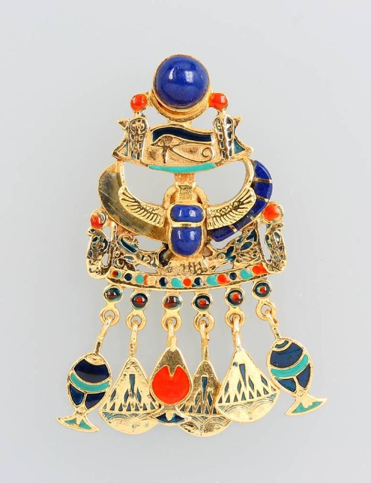 18 kt gold pendant with lapis lazuli and enamel