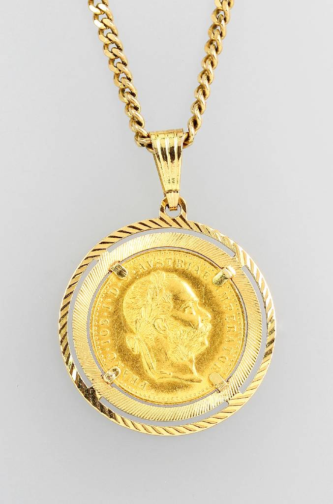 Pendant with coin, restrike of 1915