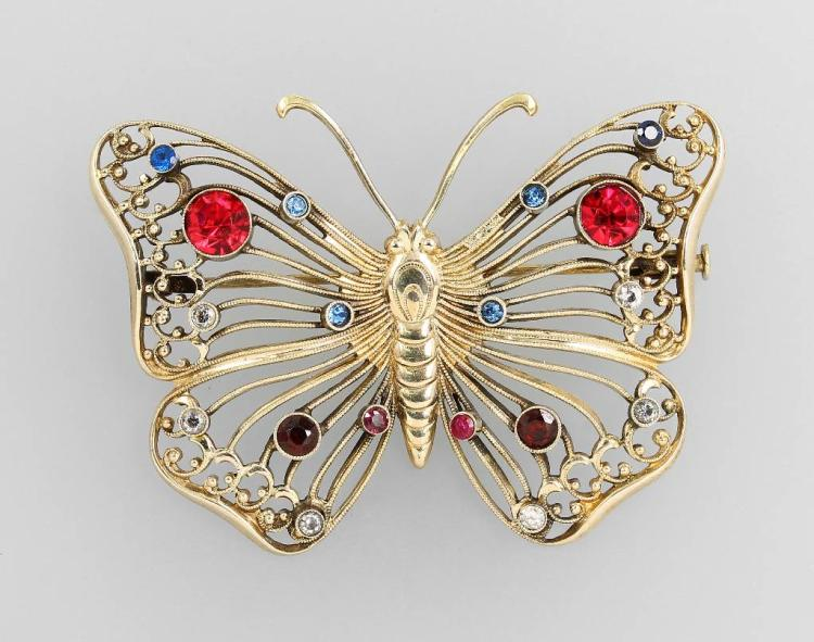 Brooch 'butterfly', metal silver plated