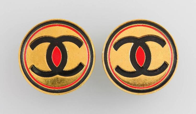 Pair of earclips, CHANEL