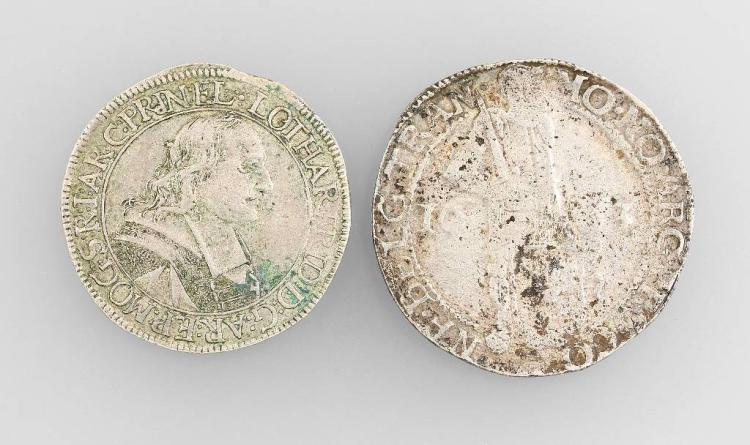 Lot 2 silver coins, Flanders and Bistum Mainz,comprised