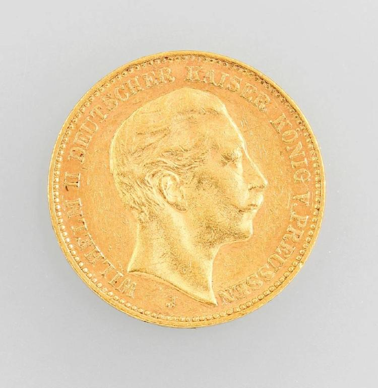 Gold coin, 20 Mark, German Empire 1905