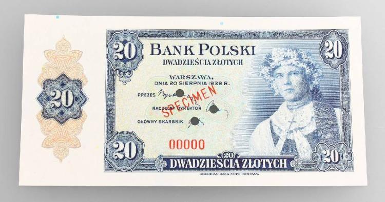 Banknote, 20 Zlotych, Poland, 1939, Warschau