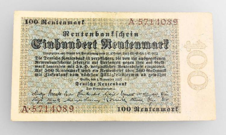 Banknote, 100 Rentenmark, German Empire