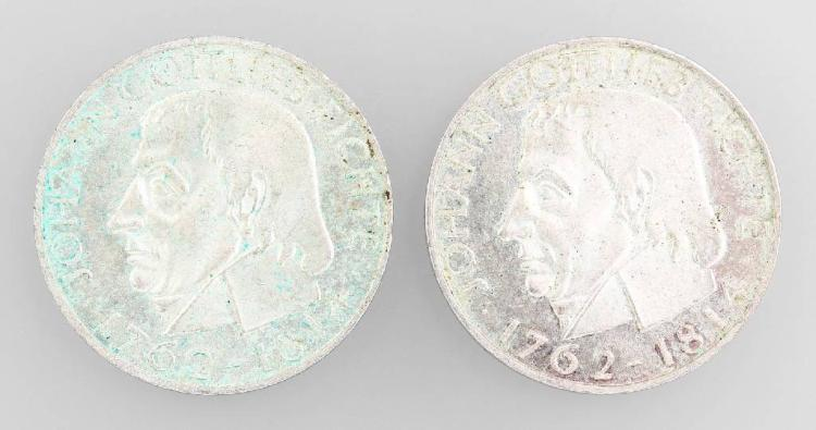 Lot 2 silver coins, 5 Mark, Germany 1964