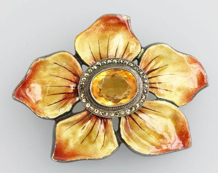 Big blossombrooch with enamel, citrine and marcasites