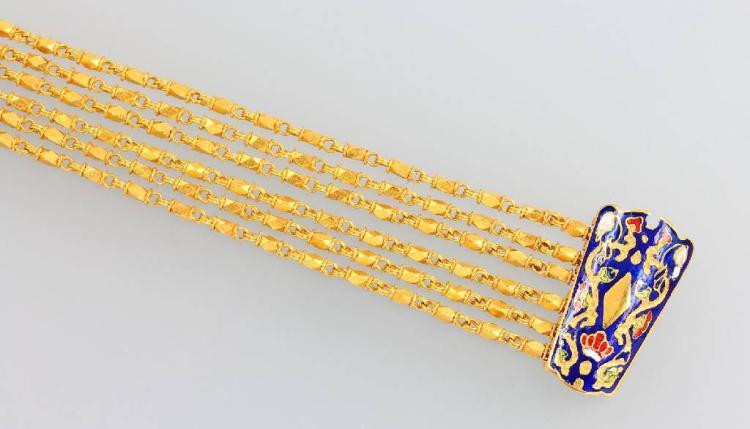 5-reihige bracelet with enamel