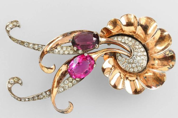 Costume jewelry brooch, signed BOUCHER, approx. 1945