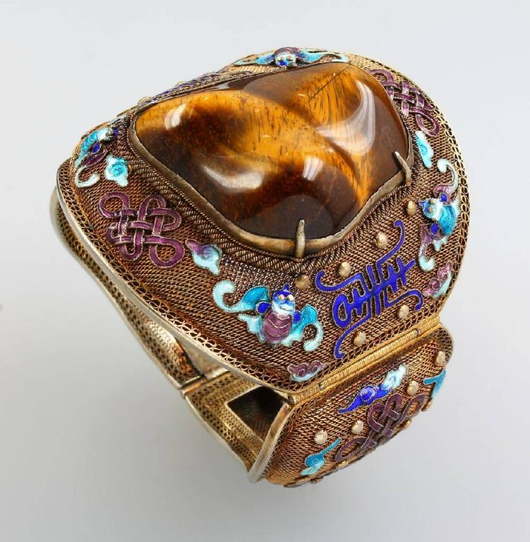 Bangle with tiger's eye and enamel, China approx. 1930s
