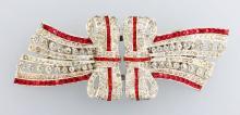 Costume jewelry brooch CORO DUETTE, metal chromed