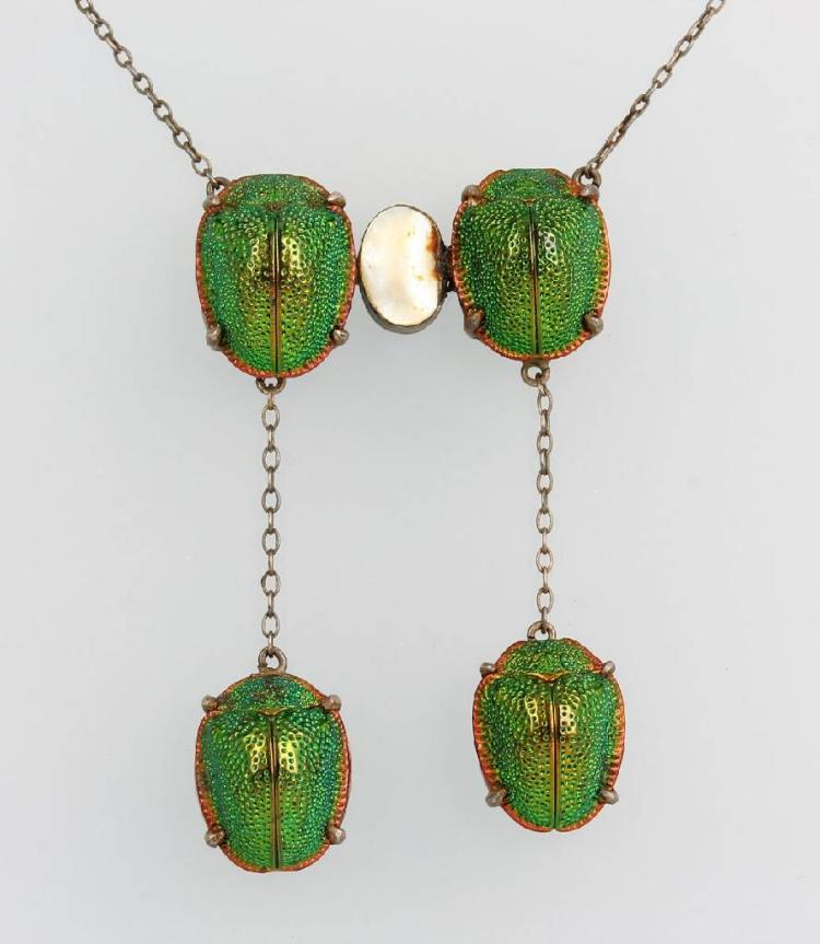 Art Nouveau necklace with scarabs and mother of pearl inlay