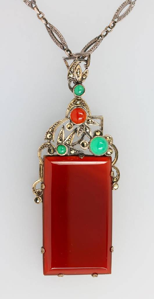 Silver pendant with carnelians and chrysoprases