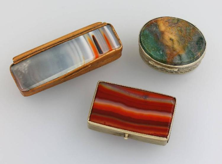 3 boxes made of agate, Idar-Oberstein approx. 1900