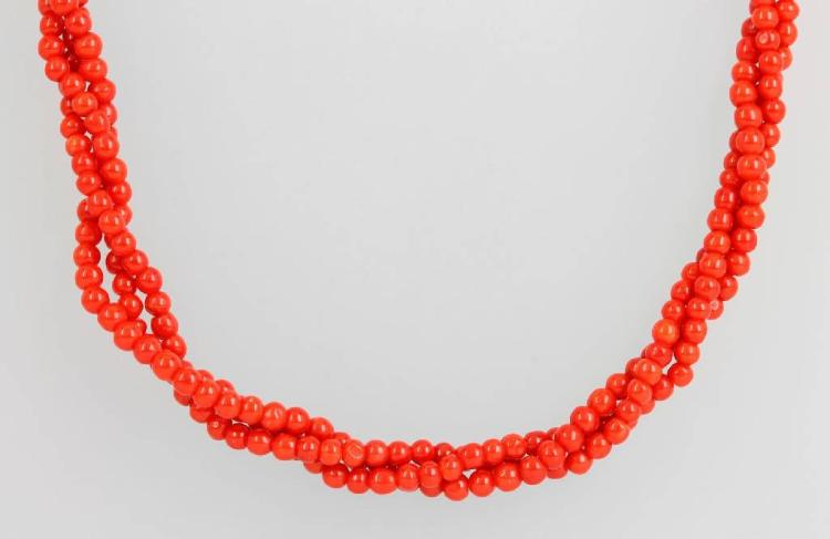 3-row coral necklace