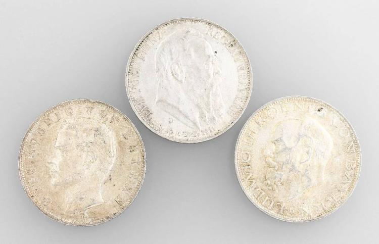 Lot 3 silver coins, 3 Mark, Bavaria , comprised