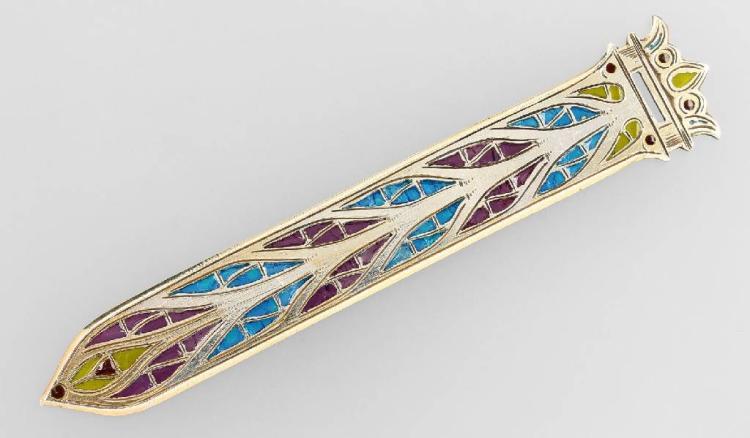 Bookmark with plique-a-jour enamel, France approx. 1900