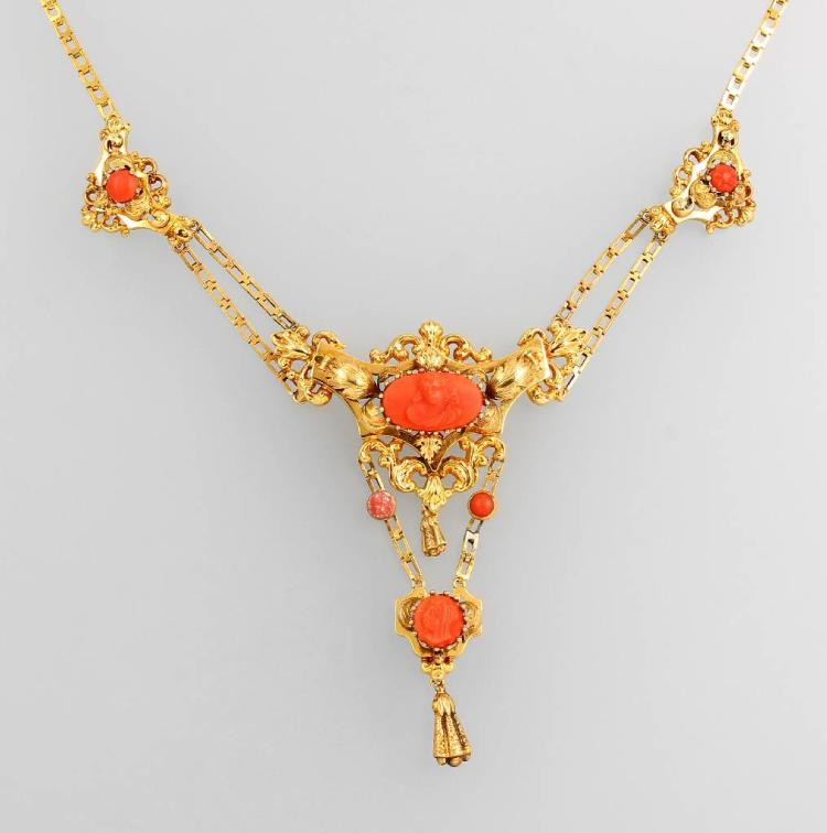 Biedermeier necklace with coral, YG 585/000
