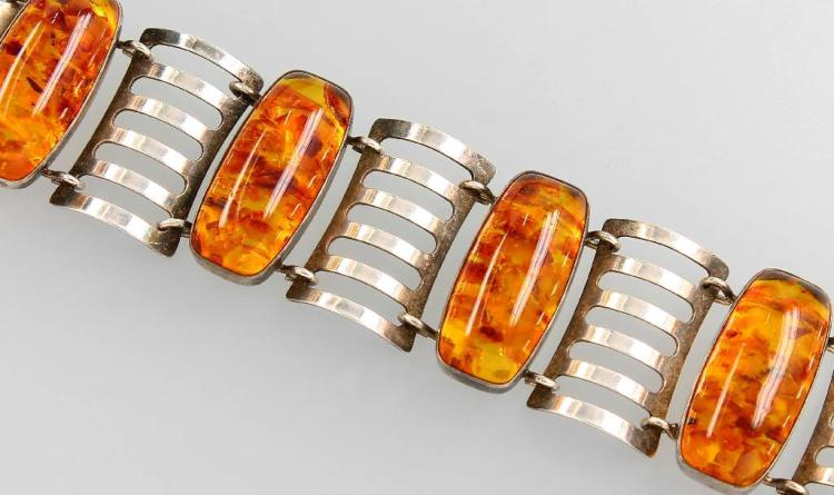 Fischland bracelet with amber, silver 835, approx. 1930/40s