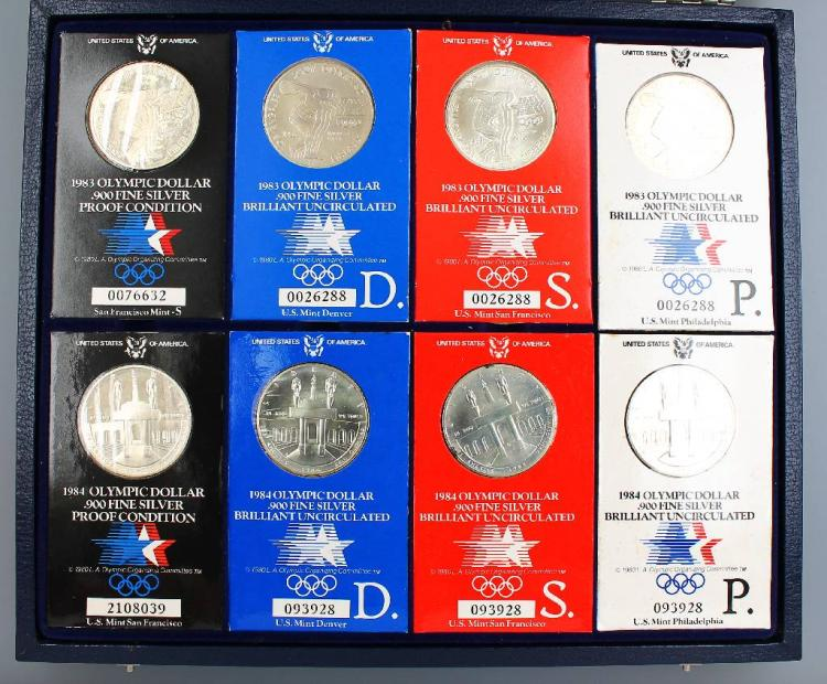 Lot 8 silver coins, 1 Dollar, USA, 1983/ 1984