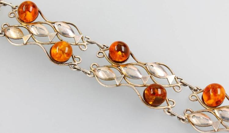 Bracelet with amber, Fischland, silver 835