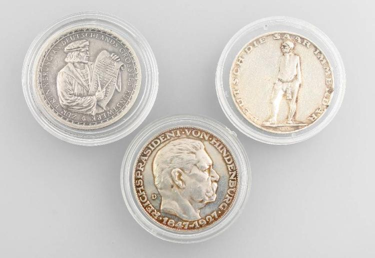 Lot 3 silvermedals, Weimar Republic