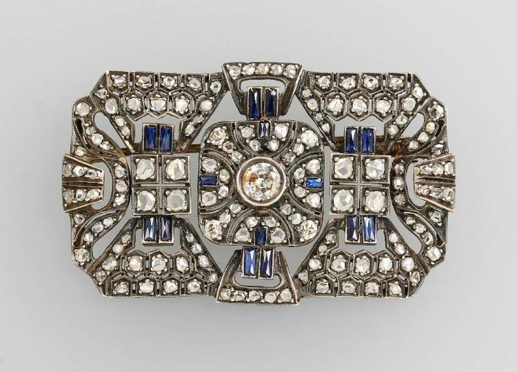 Art-Deco brooch with coloured stones and diamonds
