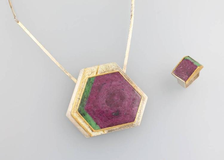 Set of jewelry with ruby zoisit, silver 925 and fine gold