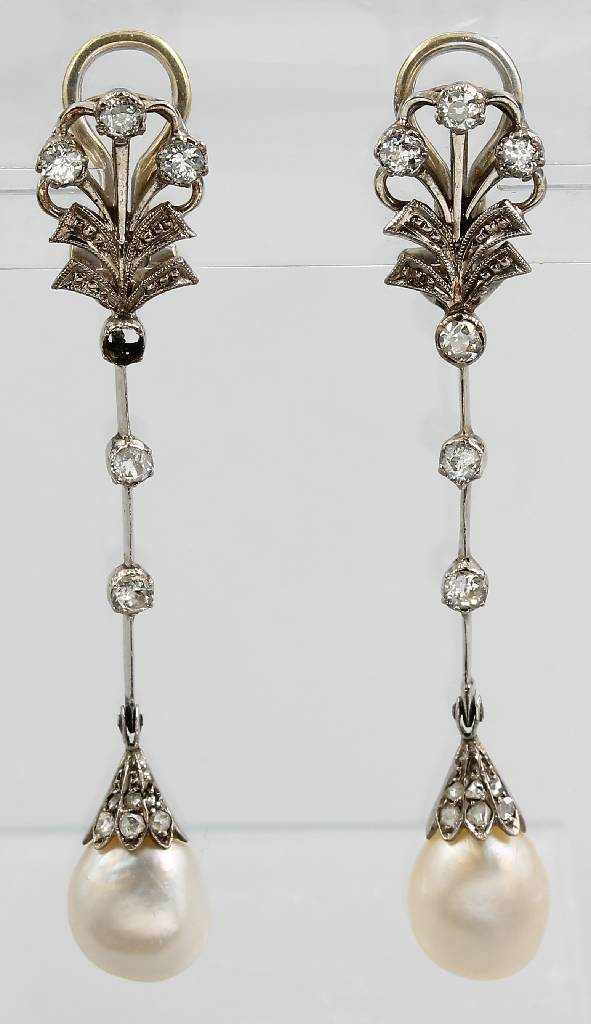 Pair of platinum earclips with orient pearls and diamonds